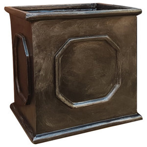 Faux Lead Cube Fibreglass Planter, 70x70x70 cm