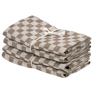 Axlings Chess Linen And Cotton Kitchen Towel, 2 Pack, Brown and White
