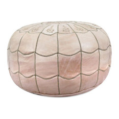 Ikram Design - Moroccan Leather Stuffed Pouf, Natural - Floor Pillows and Poufs