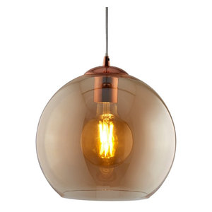 Balls Single Round Pendant, Antique Brass and Amber Glass