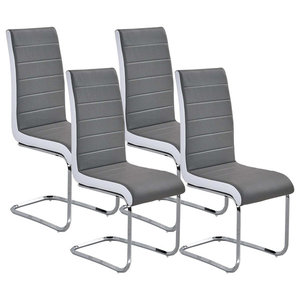Chairs Upholstered, Grey Faux Leather With Chrome Plated Base, Set of 4