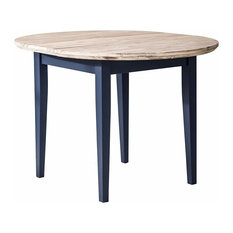 Contemporary Round Extended Table, Hardwood With Oak Finished Tabletop