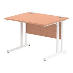 Impulse White Cantilever Base Desk, Beech, 100x80 cm