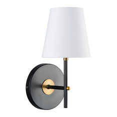 Linea Di Liara   Tamb Wall Sconce With Fabric Shade, Antique Brass    Bathroom Vanity