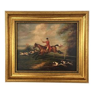 Framed Fox Hunting Painting