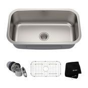 "31 1/2"" Undermount Stainless Steel Kitchen Sink, Single Bowl 16 Gauge"