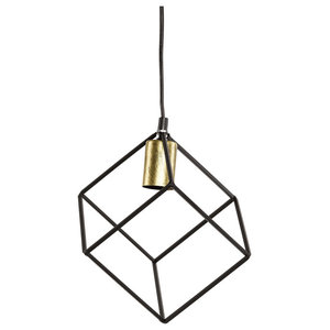 Black and Gold Cube Pendant Light
