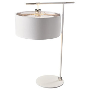 Right Angle Table Lamp, White and Nickel