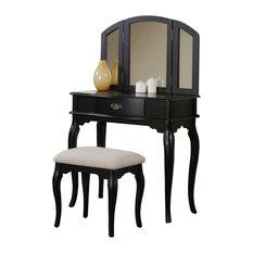 Dark Wood Vanity Table. Adarn  Enchanting Tri Folding Mirror Vanity Set Make up Table With Bench Drawer Dark Wood Bedroom and Makeup Vanities For Less Houzz