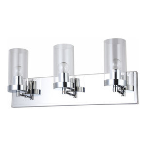 3-Light Chrome Frame Wall Sconce With Clear Glass Cylinder Shades