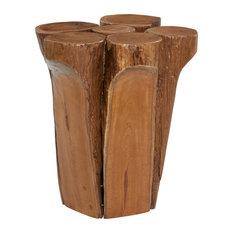 Brown Teak Wood Rustic Stool 16x16x16
