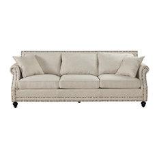 Silver Coast Company Beige Linen Sofa With Nailheads Sofas