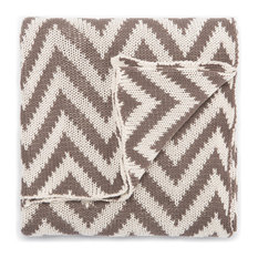 Jaipur Living Tora Navy/White Chevron Throw, 50x60, Walnut
