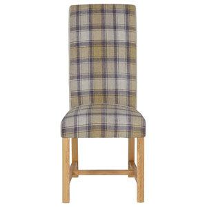 Greenwich Tartan Dining Chair, Stone