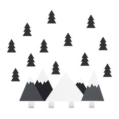 Children's Mountain Coat Hanger With Forest Adhesives, Black