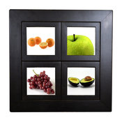 Small Windowpane Frame, 16.5x16.5 Inches With 5x5 Panes, Black Wood Lightly