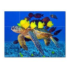 Turtle Ceramic Tile Mural Kitchen Backsplash Bathroom Shower, 402940-XL43