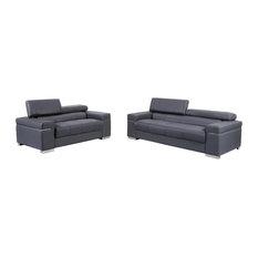 J&M - Soho Leather Sofa Set, Gray, 2-Piece Set - Living Room Furniture Sets