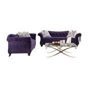 Purple Velvet Fabric Upholstered Sofa Set With Jeweled Tufted Design, Purple