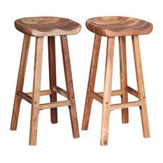 VidaXL 2x Bar Stool Solid Acacia Wood Kitchen Counter Pub Chair Seat Furniture