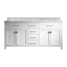 """72"""" Traditional Freestanding White Bathroom Double Vanity With Carrara Marble"""