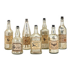 Apothescary Halloween Vintage Label Glass Bottles, Set of 7, Silver