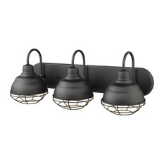"3-Light 24.5"" Matte Black Neo-Industrial, Vanity Light"