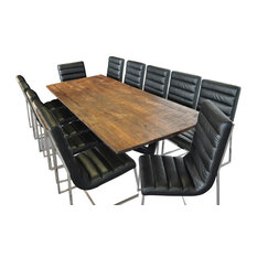 Vita Rustic Solid Wood Rectangular Table Dining Set With 12 Dining Chairs