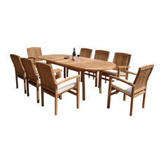 """9-Piece Outdoor Teak Dining Set, 117"""" Oval Table, 8 Wave Stacking Arm Chairs"""