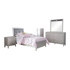 Ashley Olivet 5-Piece Bedroom Set Twin Panel With Chest, Silver
