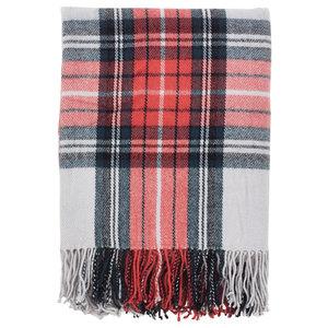 """Classic Plaid Pattern Tassel Trim Throw Blanket, 50""""x60"""""""