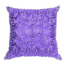 Moroccan Cushion Square Cover Purple Rabat Silk Embroidery, 60x60 cm