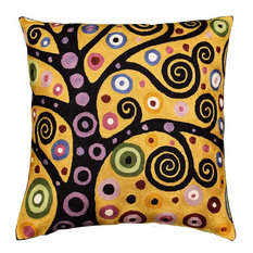 """Klimt Tree of Life Yellow Pillow Cover Soulful Hand Embroidered Wool 18x18"""""""