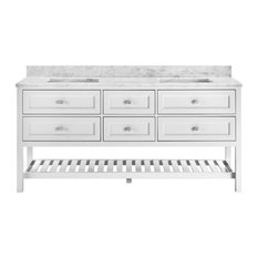 Elma Soft White Bathroom Vanity, 72""