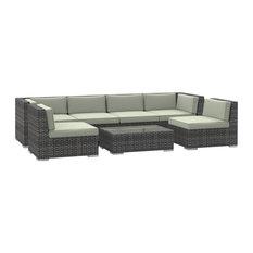 Oahu Outdoor Patio Furniture Sofa Sectional, 7-Piece Set, Beige