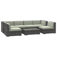 Oahu Outdoor Patio Furniture Sofa Sectional, 7-Piece Set, Beige