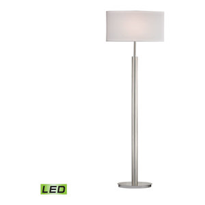 "59"" Port Elizabeth LED Floor Lamp, Satin Nickel"
