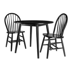 Winsome Moreno 3 Piece 36-inch Round Solid Wood Drop Leaf Dining Set In Black