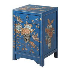 Convenience Concepts   Touch Of Asia 1 Drawer Cabinet End Table, Blue   Side  Tables