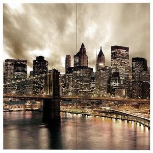 Citta' Bridge At Night 4-Piece Modern Wall Art Canvas, 160x160 cm