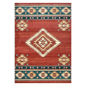 Southwestern Flamestitch Tribal Diamond Area Rug, Beige, Red, 8'x10'