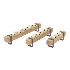 Craftsman Rectangular Wooden Votive Candle Holders, 3-Piece Set