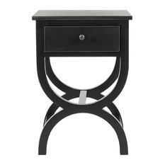 Modern Nightstand Graceful Curved Base And Drawer Unique Design Black