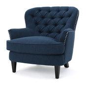 GDF Studio Alfred Royal Vintage Design Upholstered Arm Chair, Dark Blue