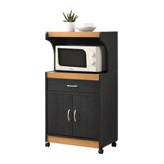 Hodedah Microwave Kitchen Cart in Black Beech