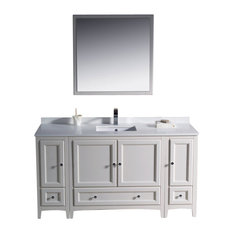 "Oxford 60"" White Vanity, 2 Side Cabinets Versa Brushed Nickel Faucet"