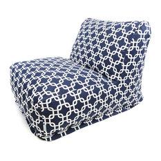 Outdoor Navy Blue Links Bean Bag Chair Lounger