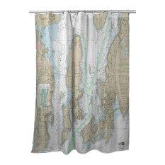 Narragansett Bay, Ri Nautical Chart Shower Curtain