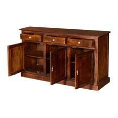 Pennsylvania Dutch Mango Wood 3 Drawer Large Rustic Sideboard Cabinet