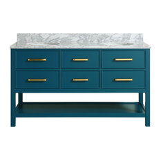 Louella Blue Bathroom Vanity With Marble Top, 60""
